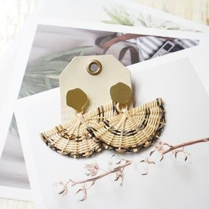 Anthropologie Wicker Fan Drop Earrings